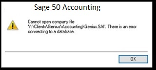 Sage 50 Error Connecting to Database