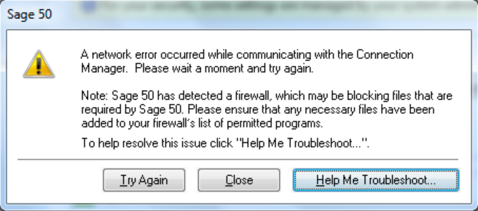 Network Error Sage 50 Stopped Working