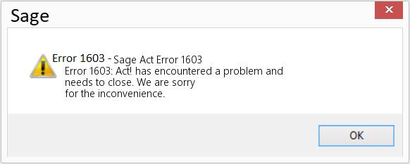 Sage error 1603
