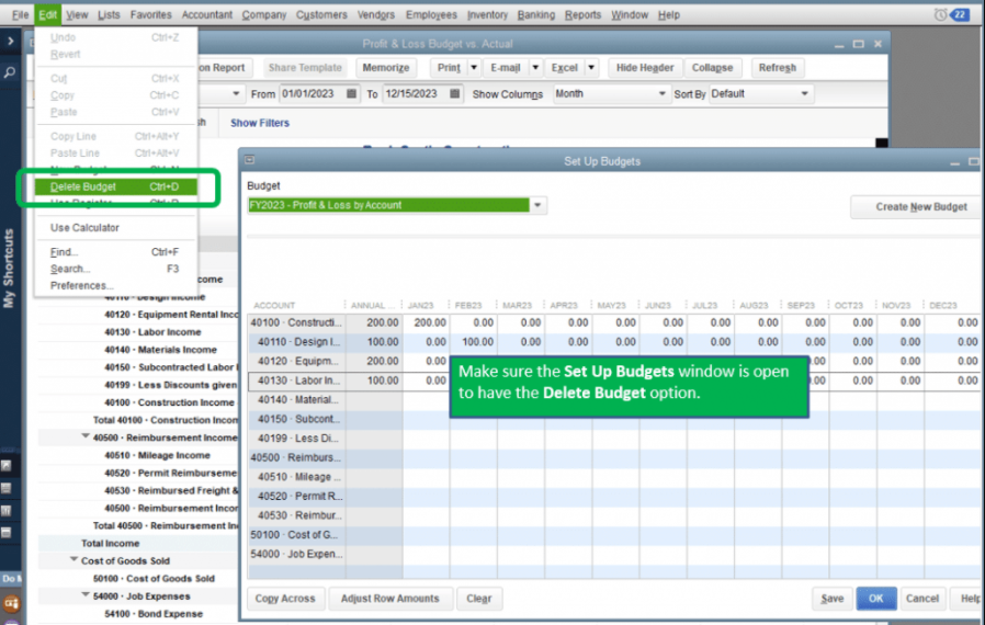 setup and delete budget in quickbooks