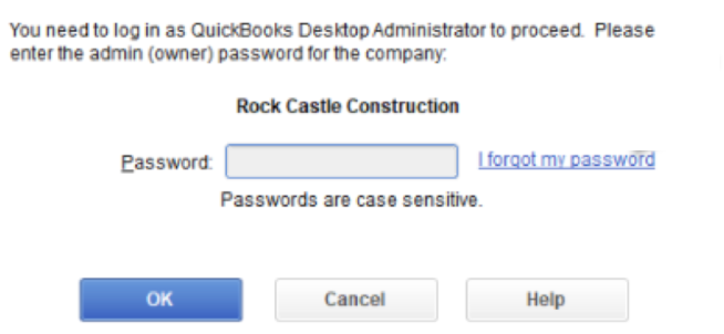 QuickBooks administrator password