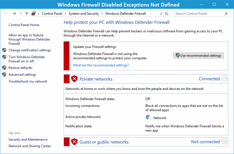 QuickBooks Windows Firewall Disabled Exceptions Not Defined