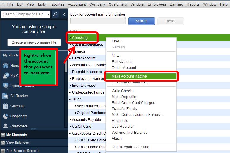 Inactive Customer Active in QuickBooks