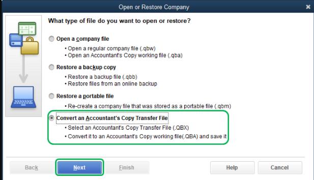 Restore Accountants Copy in QuickBooks