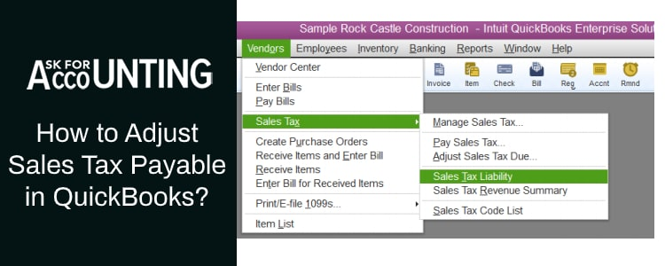 Adjust Sales Tax Payable in QuickBooks