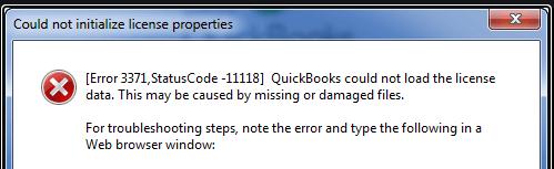 quickbooks error 3371. status code 11118