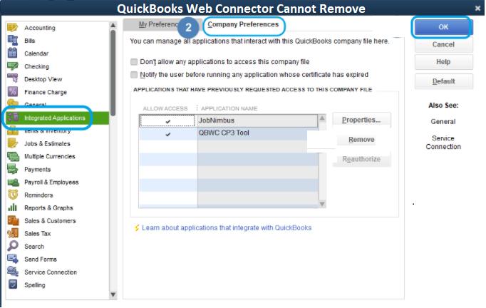 quickbooks web connector remove 1