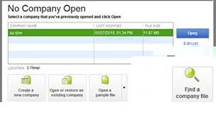 Find QuickBooks Company File 1
