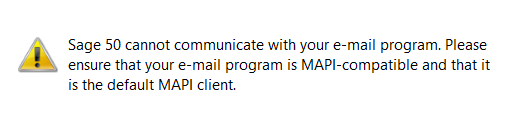 Sage 50 Can Not Communicate with Your Email