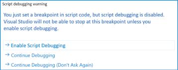Enable Script Debugging Warning