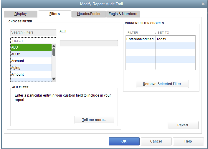 quickbooks audit trail report filter