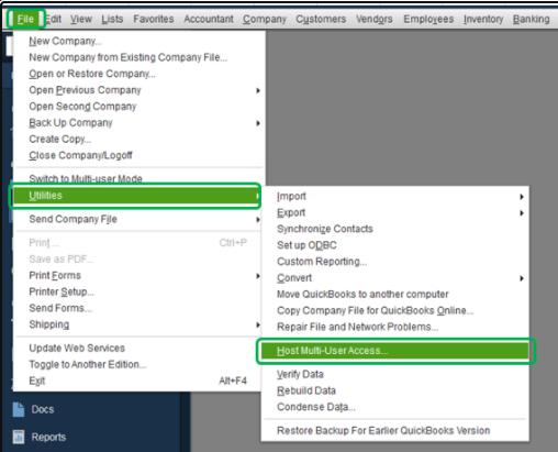 quickbooks hosting mode