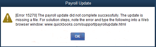 QuickBooks Payroll Error Message 15270
