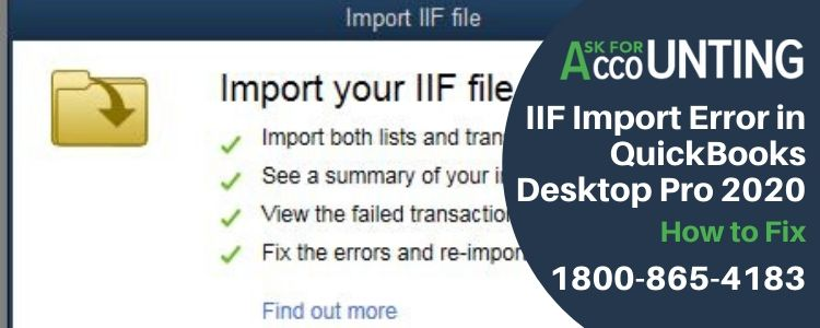 IIF Import Error in QuickBooks Desktop Pro 2020
