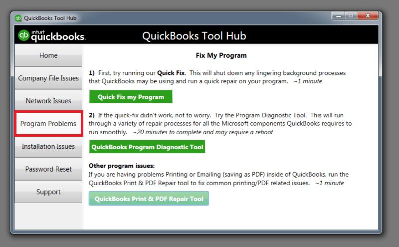 Program Problems tab in QuickBooks Tool Hub