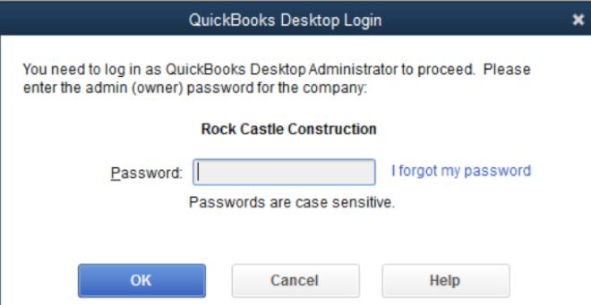 QuickBooks Admin Password