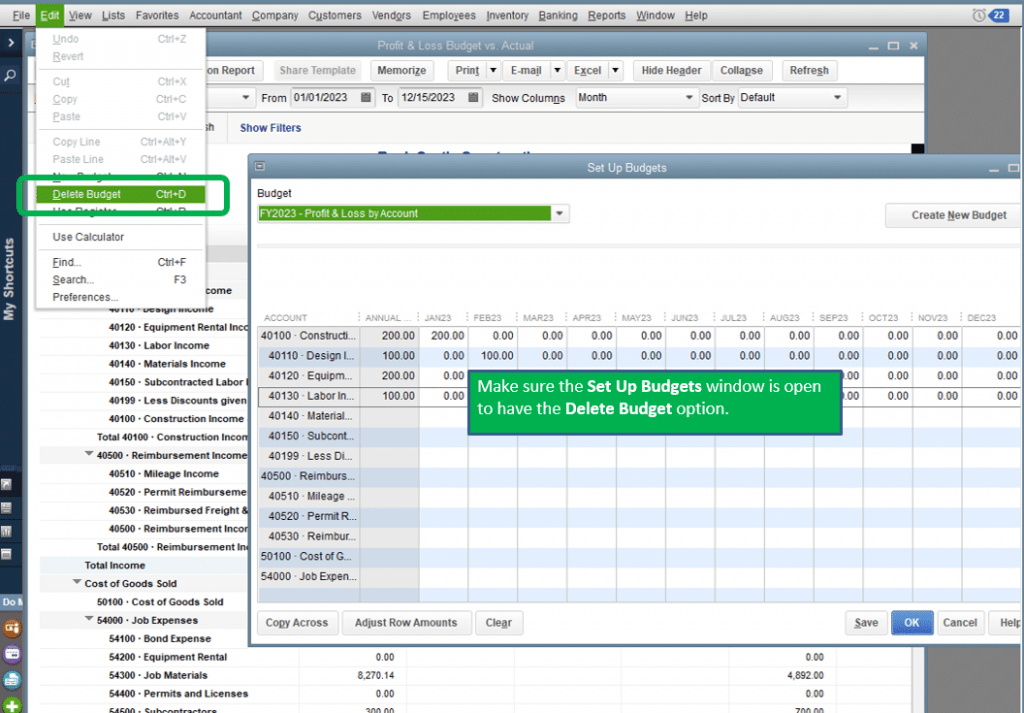 Delete Budget in QuickBooks Desktop