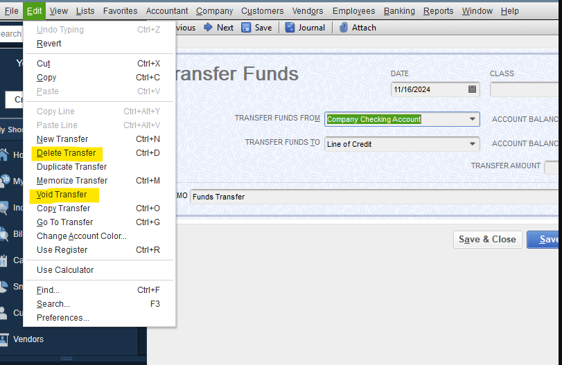 Delete Your Transfer of Funds in QuickBooks