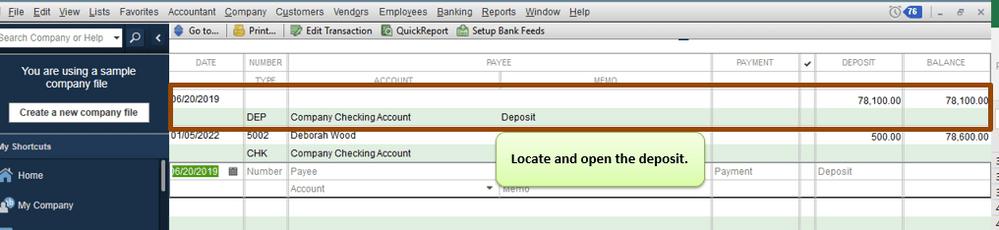 Delete a Deposit in QuickBooks Desktop min