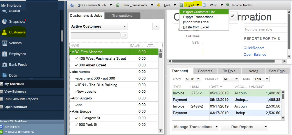 Export Customer List from QuickBooks to