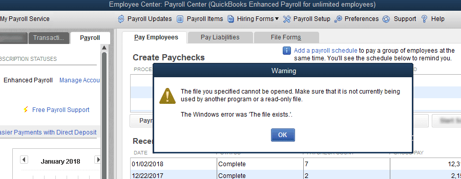 QuickBooks error 12157