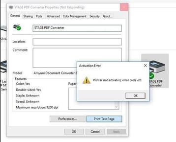 QuickBooks printer error 20