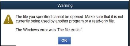 Quickbooks the file exist error
