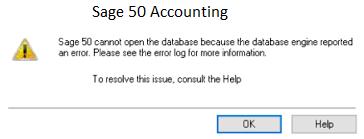 Sage 50 Database Engine Error