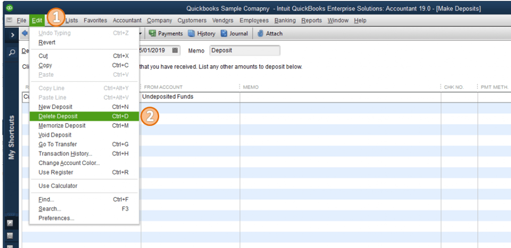 delete a check from a deposit in quickbooks