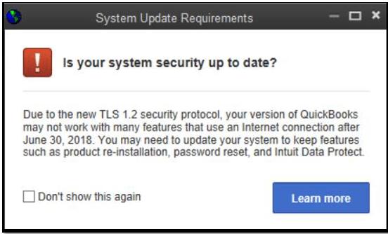 quickbooks tls 1.2 update error