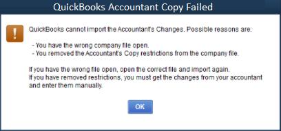 QuickBooks Accountant Copy Failed 1