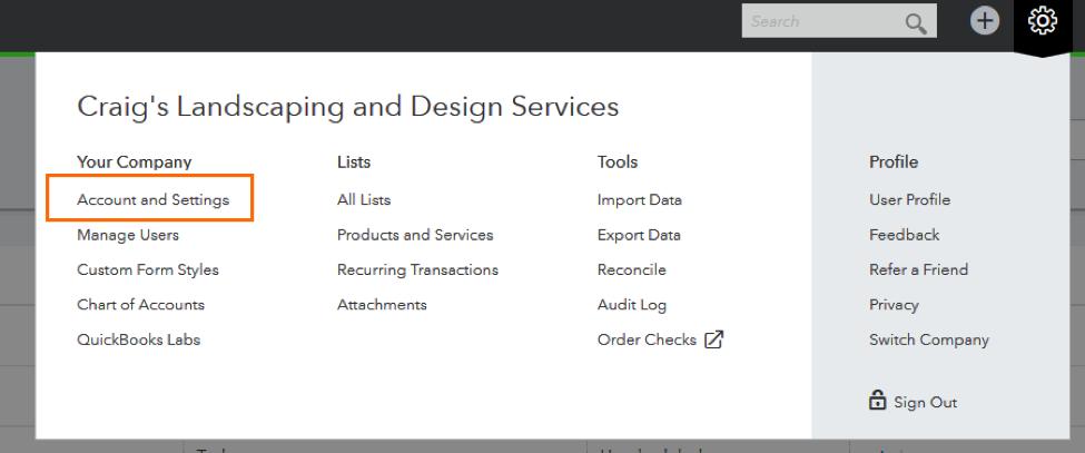 QuickBooks Online Configure Settings