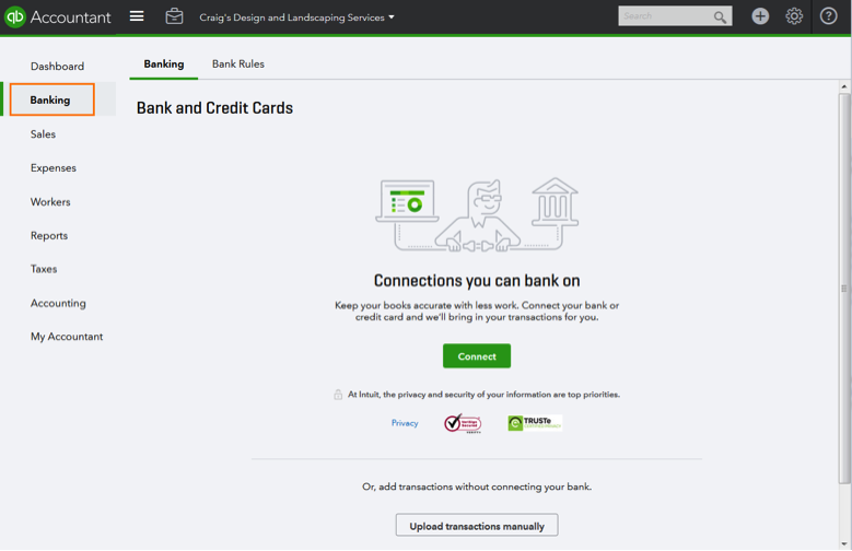 QuickBooks Online Connect Credit Card and Bank Accounts