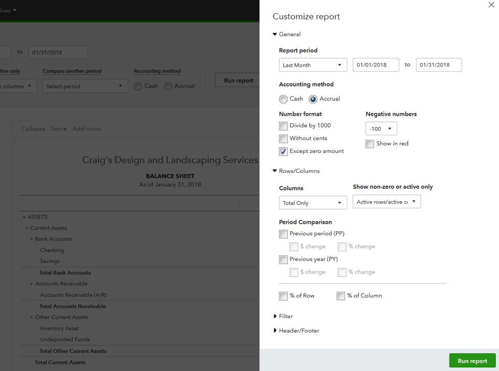 QuickBooks Online Custom Report List 1