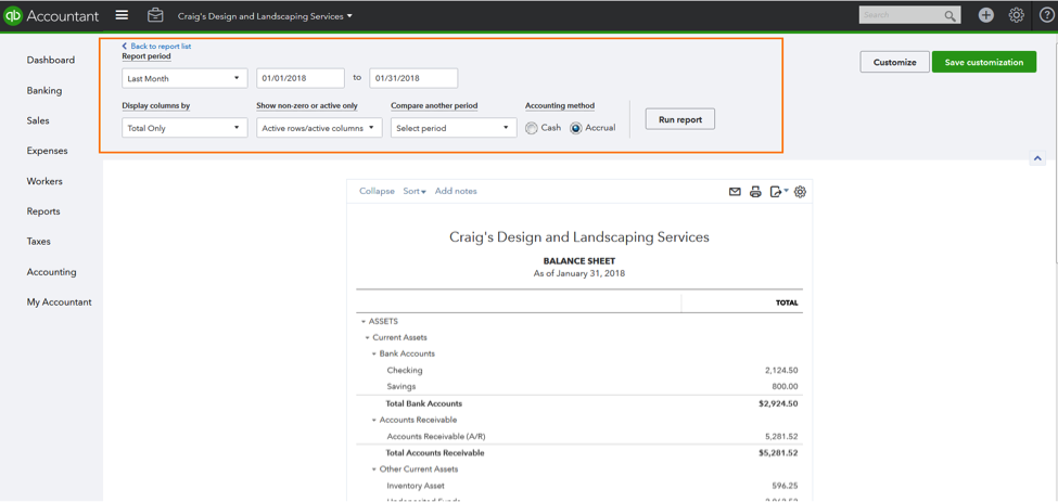 QuickBooks Online Custom Report List