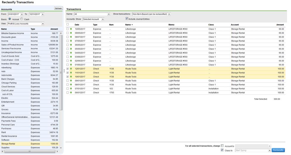 QuickBooks Online Reclassify Transactions