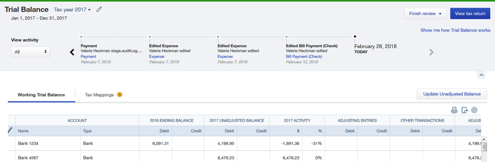 QuickBooks Online Trial Balance