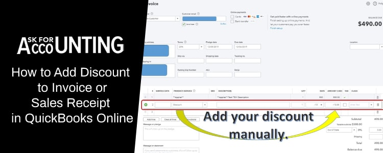 Add Discount to Invoice or Sales Receipt in QuickBooks Online