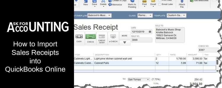 import Sales Receipts into