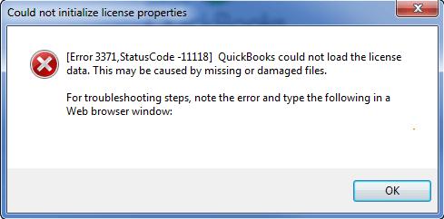 QuickBooks error 3371 status code 11118 1