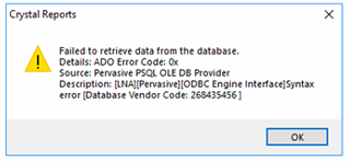 crystal reports failed to retrieve data from the database sage 50