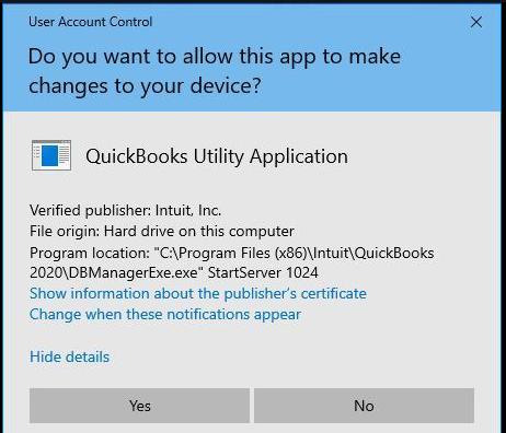 QuickBooks Utility Application Issue