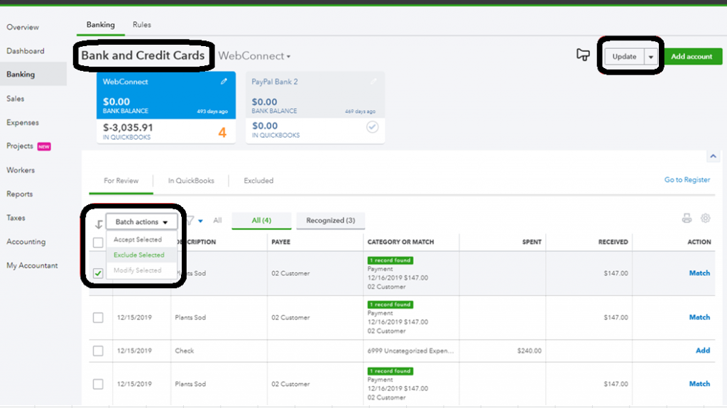 how to add credit card expenses in quickbooks